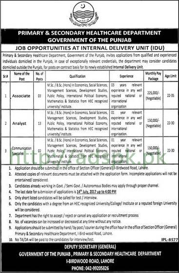 Jobs Primary & Secondary Healthcare Department Internal Delivery Unit IDU Lahore Jobs 2017 for Associate Analyst Communication Specialist Jobs Application Deadline 14-07-2017 Apply Now