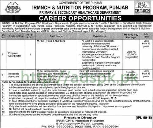 Jobs Primary and Secondary Healthcare Department Punjab Government IRMNCH & Nutrition Program Jobs 2017 Program Coordinator Research Associate Jobs Application Deadline 10-08-2017 Apply Now