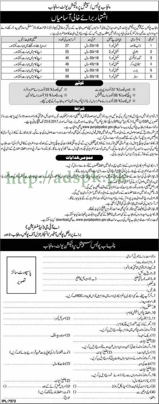 Jobs Punjab Police Special Protection Unit SPU CPO Punjab