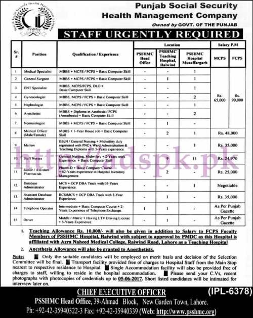 Jobs Punjab Social Security Health Management Company Punjab Govt. Jobs 2017 for Medical ENT Specialist Medical Officer Assistant Pharmacist Database Admin Jobs Application Deadline 05-06-2017 Apply Now