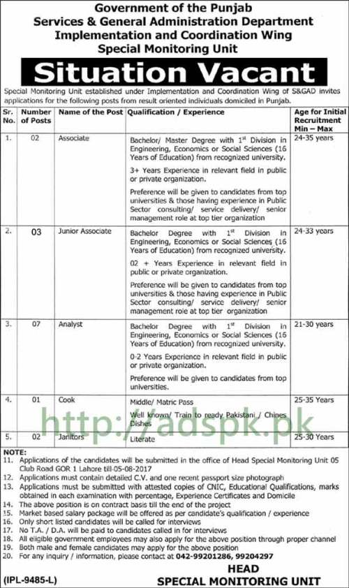 Jobs S&GAD Punjab Jobs 2017 for Associates Analyst Cook Janitors Jobs Application Deadline 05-08-2017 Apply Now