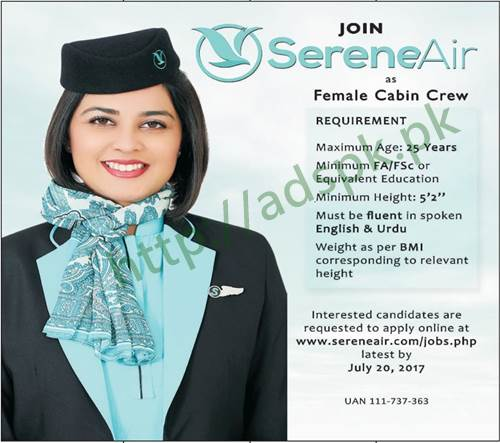Jobs Join SereneAir Jobs 2017 for Female Cabin Crew Eligibility F.A F.Sc Jobs Application Deadline 20-07-2017 Apply Online Now