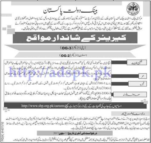 Jobs State Bank of Pakistan Jobs 2017 for Deputy Director (OG-3) Assistant Director (OG-2) Jobs Application Deadline 12-06-2017 Apply Now