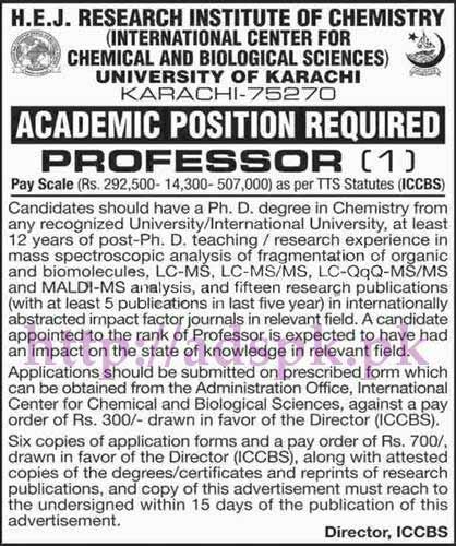 Jobs University of Karachi Jobs 2017 for Professor (TTS) Jobs Application Form Deadline 09-06-2017 Apply Now