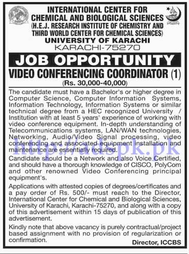 Jobs University of Karachi Jobs 2017 for Video Conferencing Coordinator Jobs Application Deadline 15-06-2017 Apply Now