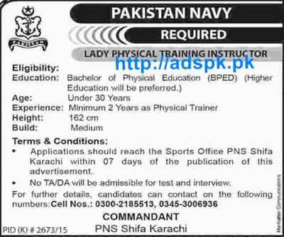Jobs of Pakistan Navy PNS Shifa Karachi Jobs 2016 for Lady