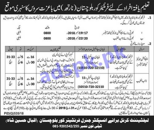 Join Frontier Corp Balochistan North Jobs 2018 for Education Junior Commissioned Officers Naib Khateeb Jobs Application Deadline 01-12-2018 Apply Now