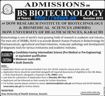 Latest Admissions Open 2015-16 of DOW University of Health Sciences Karachi for BS Biotechnology (04 Years Degree Program) Last Date 30-11-2015 Apply Now