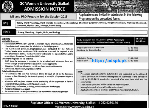 Latest Admissions Open 2015-16 of GC Women University Sialkot for MS and PhD (Botany Chemistry Physics Zoology Degree Programs Last Date 10-12-2015 Apply Now