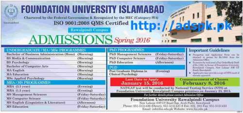 Latest Admissions Open 2016 of Foundation University of Islamabad (Rawalpindi Campus) for Undergraduate M.A M.S MBA MS PhD PGD Programs Last Date 15-01-2016 Apply Now