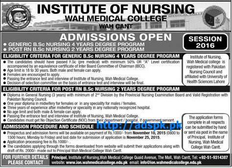 Latest Admissions Open 2016 of Institute of Nursing Wah Medical College for B.Sc Nursing Degree Programs Last Date 25-11-2015 Apply Now