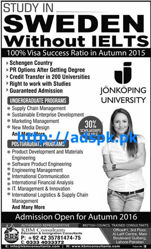 Latest Admissions Open Autumn 2015-16 of Jonkoping University Sweden without IELTS for Undergraduate & Postgraduate Programs Apply Now