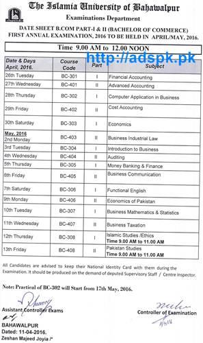 Latest Date Sheet 2016 Islamia University of Bahawalpur