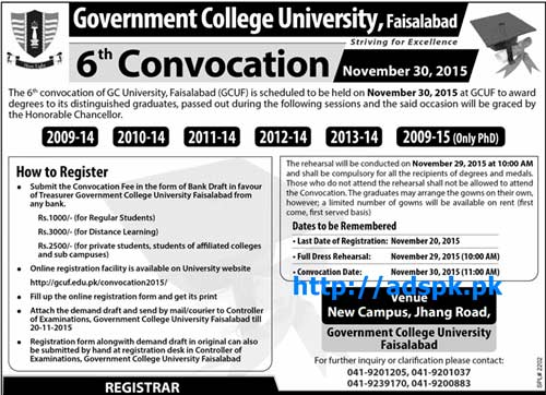 Latest GCUF 6th Convocation How to Register Last Date 20-11-2015 Apply Now
