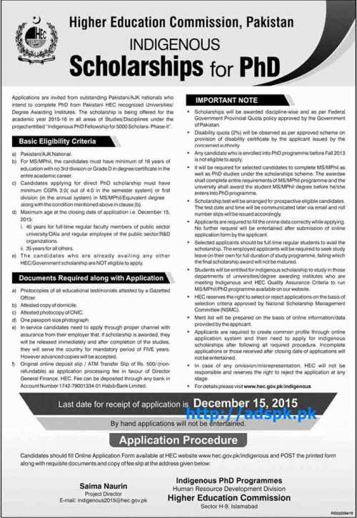 Latest Indigenous Scholarships HEC Pakistan for PhD Application Procedure Last Date 15-12-2015 Apply Now