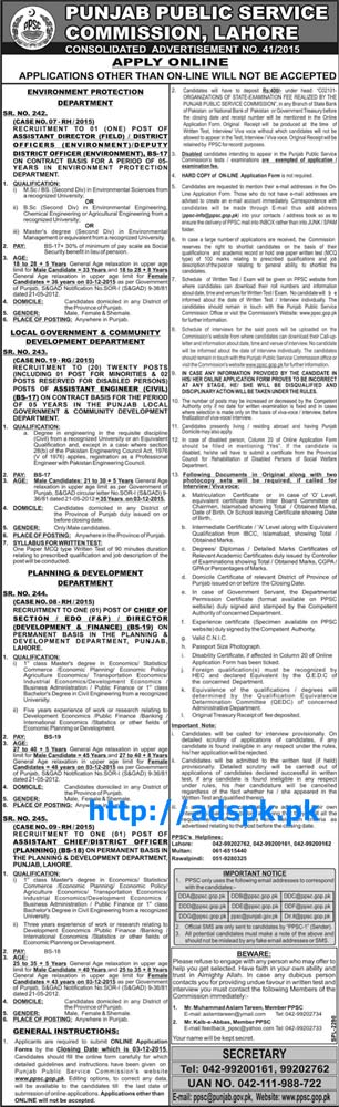 Latest Jobs Consolidated Ad No. 41-2015 PPSC Jobs Written Test Syllabus for Environment LG&CD Planning & Development Various New Jobs PPSC Last Date 03-12-2015 Apply Now by PPSC