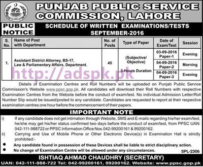 Latest Jobs Test Assistant District Attorney PPSC Written Test Schedule from 03-09-2016 to 04-09-2016 Sponsored by Daily Jang Newspaper