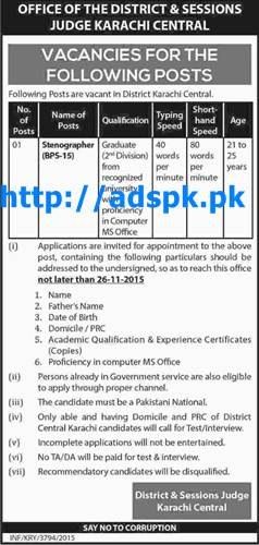 Latest Jobs of District & Sessions Judge Karachi Central Jobs 2015 for Stenographer (BPS-15) Last Date 26-11-2015 Apply Now