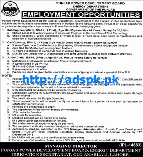 Latest Jobs of Energy Department PPDB Govt. of Punjab