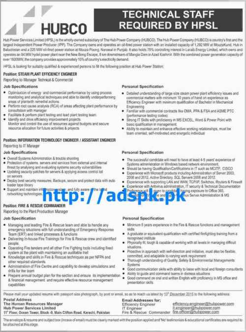 Latest Jobs of Hub Power Company (HUBCO) Jobs 2015 for Steam Plant Efficiency Engineer I.T Engineer Fire & Rescue Commander Last Date 13-12-2015 Apply Online Now