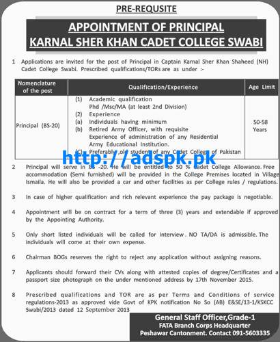 Latest Jobs of Karnal Sher Khan Cadet College Swabi Jobs
