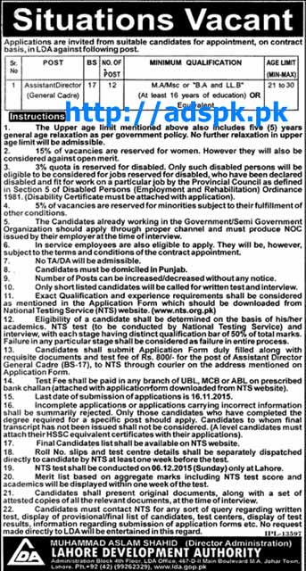 Latest Jobs of LDA Lahore Jobs 2015 for Assistant Director (General Cadre) NTS Last Date 16-11-2015 Test Dated 06-12-2015 Apply Now by Daily Jang