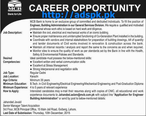 Latest Jobs of MCB Bank Lahore Jobs 2015 for Department Head General Services Division & Engineer Building Admin Last Date 10-12-2015 Apply Now