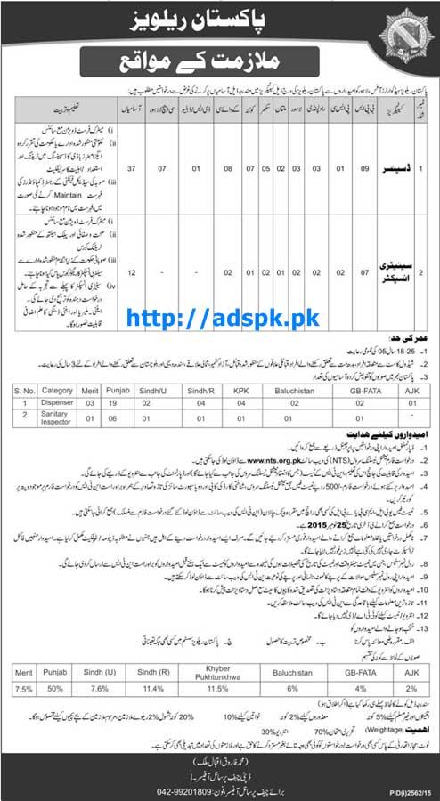 Latest Jobs of Pakistan Railways NTS Jobs 2015 for Dispenser & Sanitary Inspector NTS Last Date 25-11-2015 Apply Now