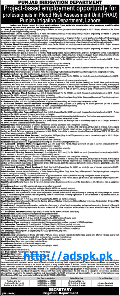 Latest Jobs of Punjab Irrigation Department Lahore Jobs 2015 for Directors Deputy Directors Assistant Directors Accounts Officer Various New Jobs Last Date 18-12-2015 Apply Now