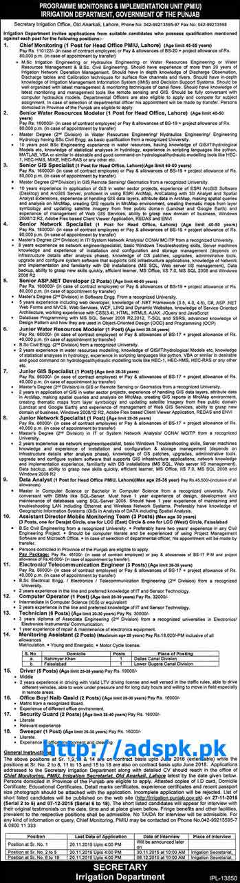 Latest Jobs of Punjab Irrigation Department PMIU Lahore Jobs 2015 for Various New Jobs Last Date 20-11-2015 Apply Now by Daily Express