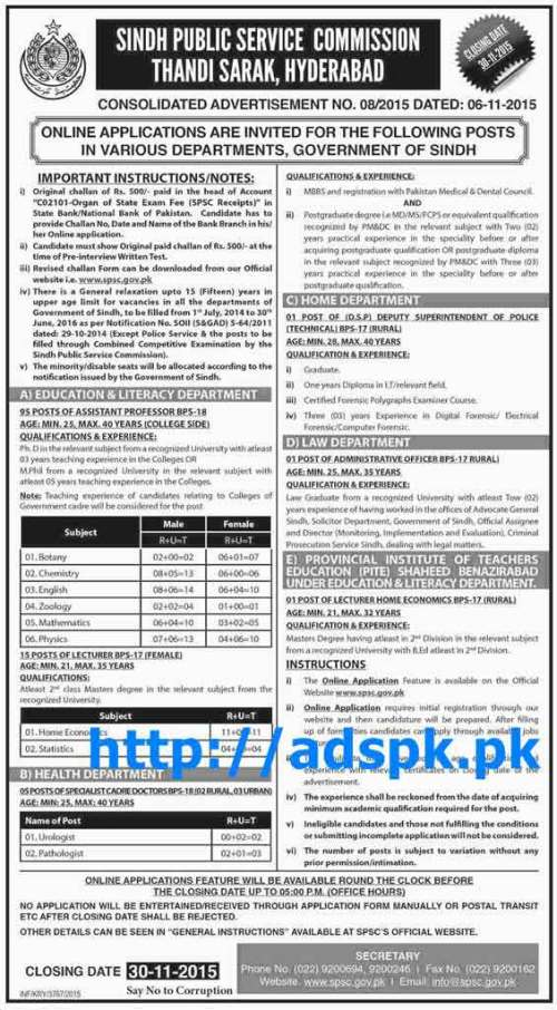 Latest Jobs of SPSC AD No. 08-2015 Written Test Syllabus for Deputy Superintendent of Police Technical and other Department Jobs Last Date 30-11-2015 Apply Online Now