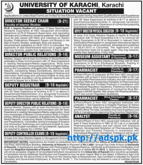 Latest Jobs of University of Karachi Jobs 2015 for Directors Deputy Registrar Pharmacist Analyst Last Date 23-11-2015 Apply Now