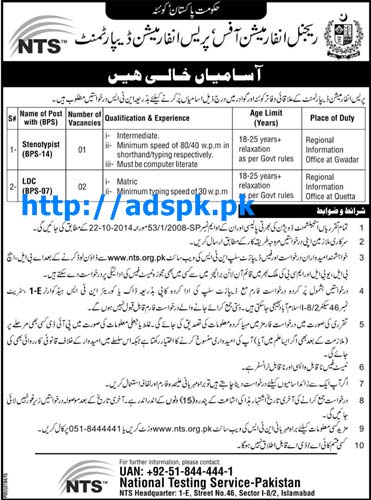 Latest NTS Jobs of Press Information Department Quetta