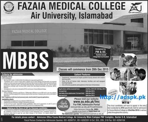 NTS Latest MBBS Admissions Test 2015 of Fazaia Medical College Air University Islamabad Last Date 12-11-2015 Test Dated 22-11-2015 Apply Online Now by NTS Pakistan