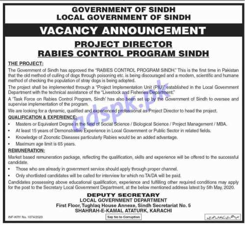 Local Government of Sindh Karachi Jobs 2020 for Project Director Rabies Control Program Sindh Jobs Application Deadline 05-05-2020 Apply Now