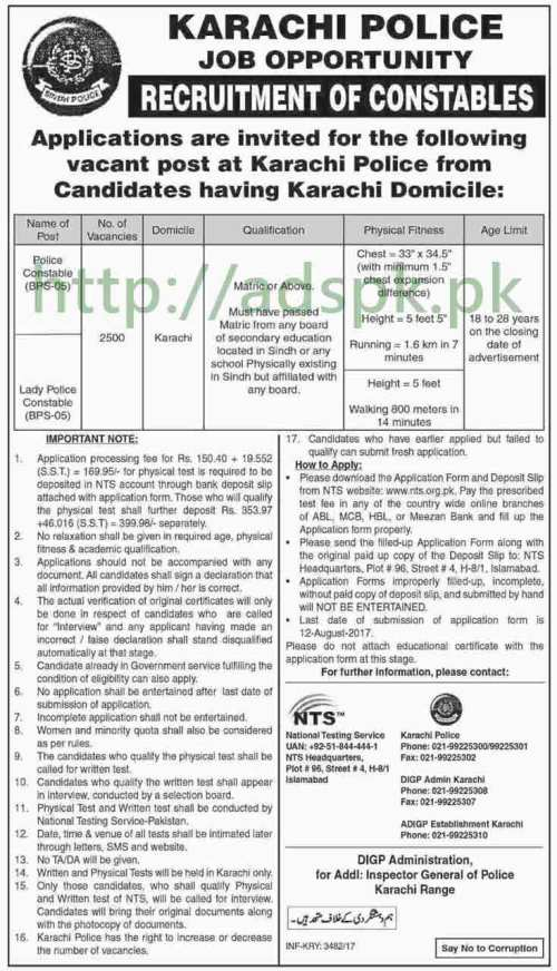 NTS 2500 Jobs Karachi Police Jobs 2017 NTS MCQs Written Test Syllabus Paper for Police Constable Lady Police Constable Jobs Application Form Deadline 12-08-2017 Apply Now by NTS Pakistan