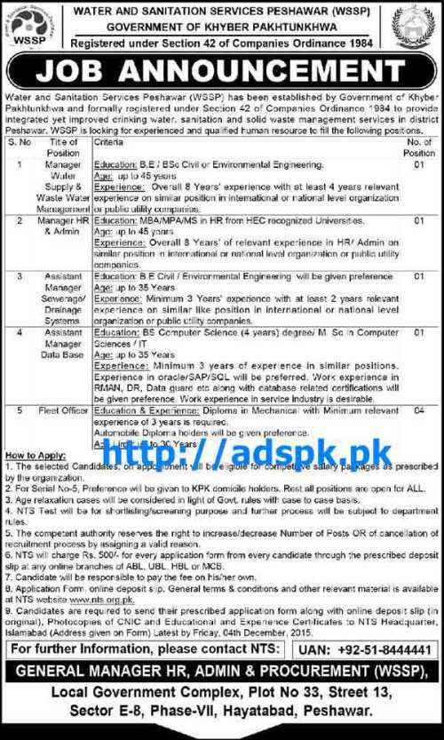 NTS Latest Jobs of Water and Sanitation Services Peshawar Jobs 2015 (Recruitment Test) for Manager Water Supply & Waste Water Management Manager HR & Admin Assistant Manager Sewerage / Drainage Systems Assistant Manager Database Fleet Officer NTS Last Date 30-11-2015 Apply Now by NTS Pakistan