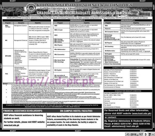 NTS New Admissions Test Kohat University of Science & Technology Kohat (Graduate and Undergraduate Admission (Fall-2016) Written Test Syllabus for (GAT-GENERAL form for MS/Mphil) (GAT Subject form for PhD) Application Forms Application Deadline 31-08-2016 Apply Now by NTS Pakistan