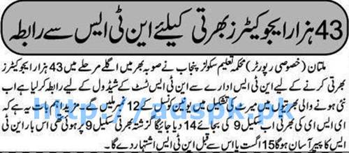 NTS New Career Excellent 43000 Educators Jobs Recruitment in Punjab 2016 Latest News Next Stage for Educators Recruit or before 15-08-2016 Punjab School Education Department by Express Newspaper