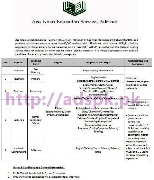 NTS New Career Excellent Jobs Aga Khan Education System Pakistan (AKES-P) Jobs Written Test Syllabus Paper for Teachers Lecturers & Academic Coordinators Application Form Deadline 15-03-2017 Apply Now by NTS Pakistan