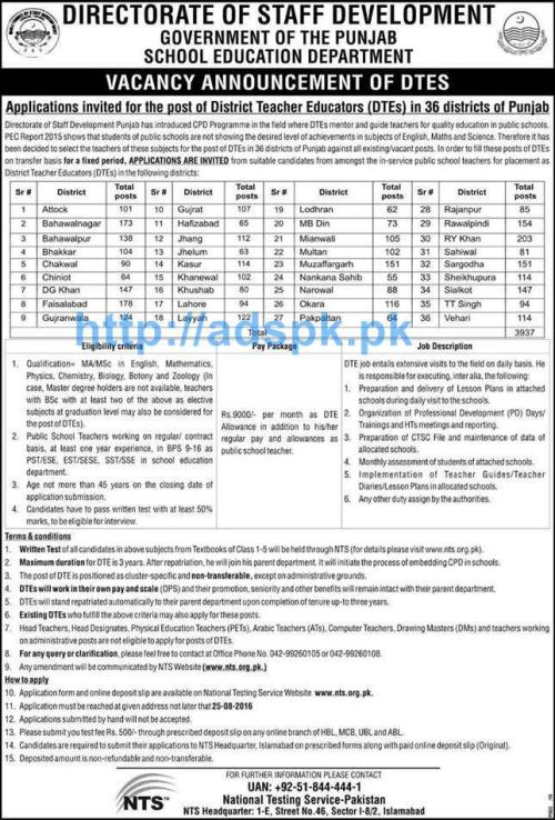 NTS New Career Excellent Jobs DSD School Education Department Punjab Govt. Jobs for DTE District Teacher Educators in 36 Districts of Punjab Application Deadline 25-08-2016 Apply Now