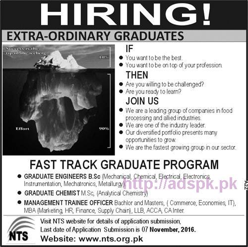NTS New Career Excellent Jobs Fast Track Graduate Program Sugar Industry Jobs Written Test Syllabus Papers for MTOs Graduate Trainee Engineers Chemists Management Trainee Officers Application Form Deadline 07-11-2016 Apply Now by NTS Pakistan