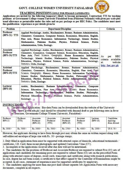 GCWUF New Jobs Best Career in Government College Women University Faisalabad P.O Box 28 GCWUF Faisalabad Jobs 2017 for Professors (TTS) Associate Professors (TTS) Assistant Professors (TTS) Application Form Last 08th March 2017 Apply Now by HEC Higher Education Commission