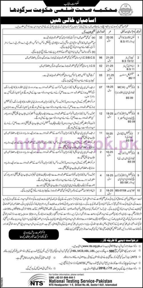 NTS New Career Excellent Jobs Punjab Govt. Health Department Sargodha Jobs Written Test Syllabus Paper for School Health Nutrition Computer Operator Data Entry Operator Junior Technicians Accountant Application Form Deadline 11-11 2016 Apply Now by NTS Pakistan