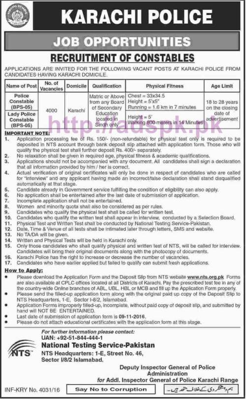 NTS New Career Excellent Jobs Karachi Police 4000 Jobs Written Test Syllabus Paper for Police Constable Lady Police Constable Application Form Deadline 09-11-2016 Apply Now by NTS Pakistan