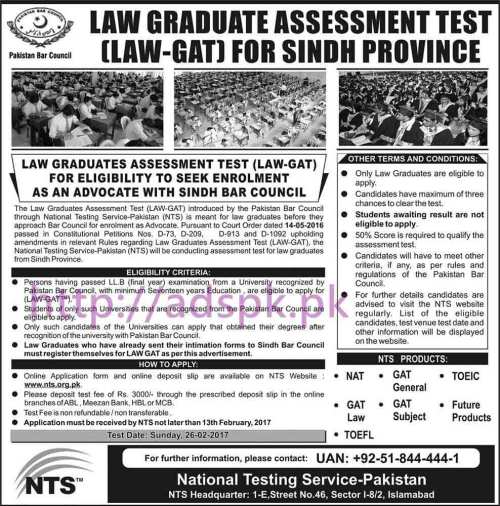 NTS New Career Excellent Jobs Pakistan Bar Council (LAW-GAT 2017-I) (Career Opportunity for Sindh only) Written Test Syllabus Paper for Enrolment as an Advocate with Sindh Bar Council Application Form Registration Deadline 13-02-2017 Test Dated 26-02-2017 Apply Online Now by NTS Pakistan