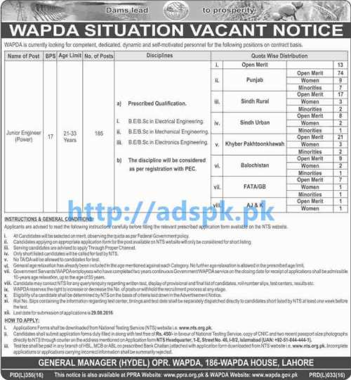 NTS New Career Excellent Jobs WAPDA (Allover in Pakistan) Jobs for Junior Engineer Power Test Syllabus Paper Content Application Deadline 29-08-2016 Apply Now