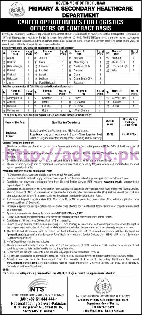 NTS New Career Logistics Officer Jobs Written Test Syllabus Paper for Primary & Secondary Healthcare Department DHQ THQ Hospitals Application Form Deadline 15-03-2017 Apply Now