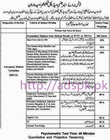 NTS Rescue 1122 Paramedics MCQs Written Test Syllabus Paper Details for Jobs Test 2017 by NTS