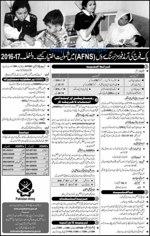 New Admissions 2016-17 Excellent Career in Armed Forces Nursing Service (AFNS) Pakistan Army for AFNS (B.Sc Nursing) Female Nurse as lieutenant Application Deadline 02-09-2016 Apply Online Now
